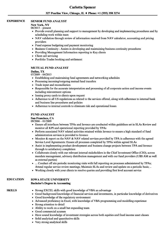 Fund Analyst Resume Samples  Velvet Jobs