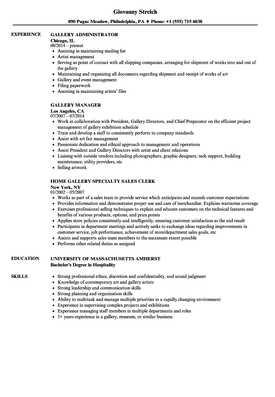 resume artist management jobs