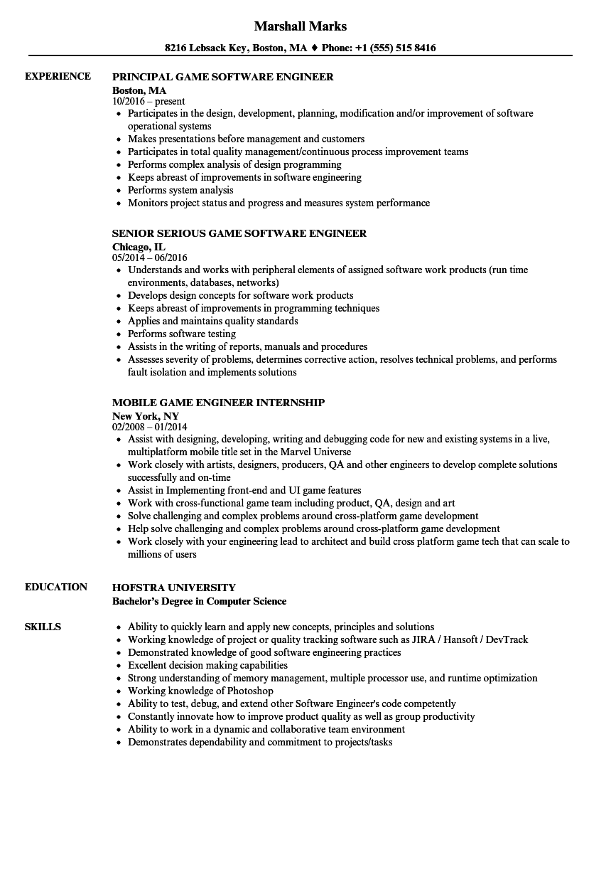Download Game Engineer Resume Sample As Image File