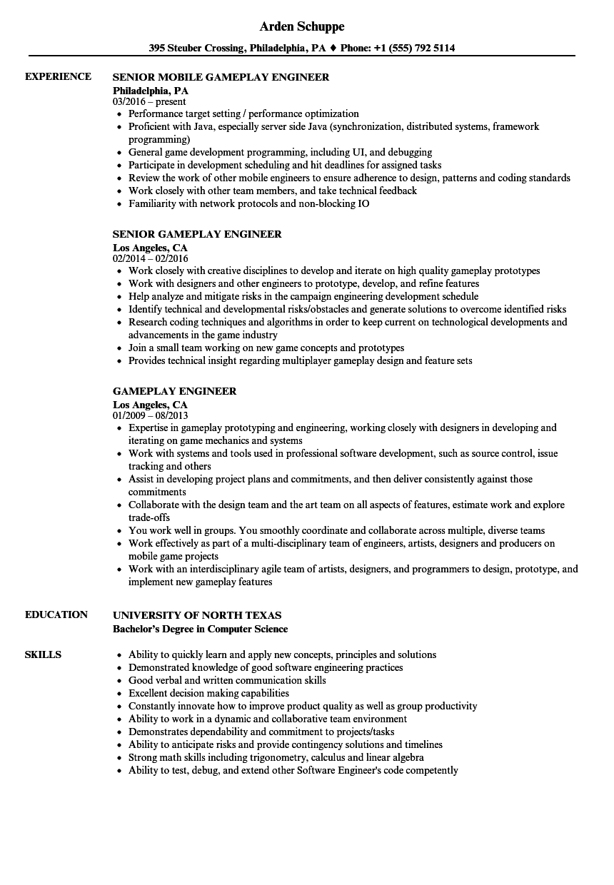 Download Gameplay Engineer Resume Sample As Image File