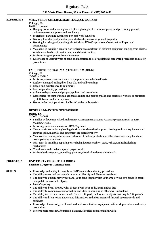 general maintenance sample resume