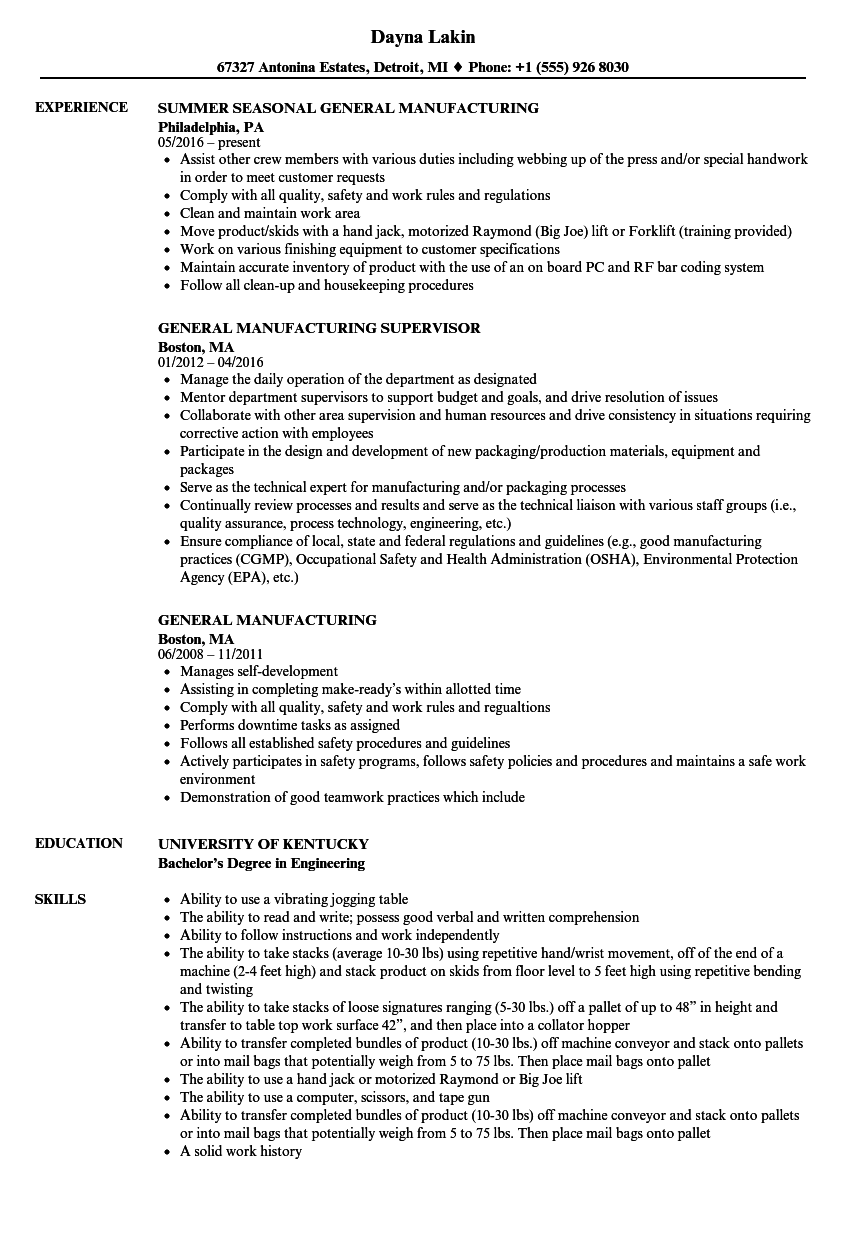 General Manufacturing Resume Samples Velvet Jobs
