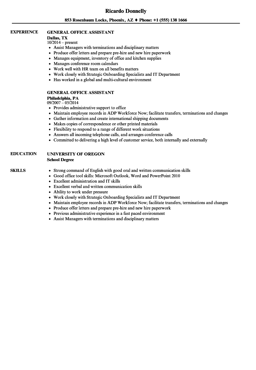 resume examples for general office support