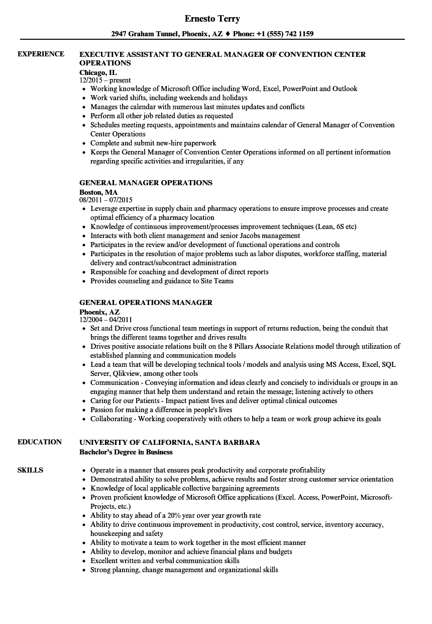 General Operations Manager Resume Samples Velvet Jobs