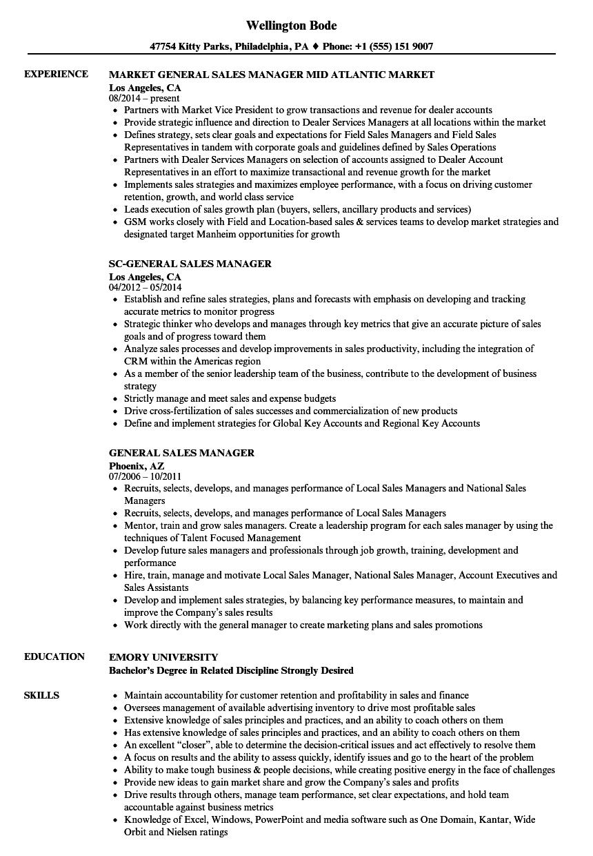 Download General Sales Manager Resume Sample As Image File