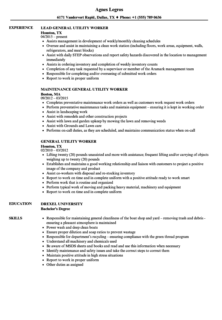 General Utility Worker Cover Letter