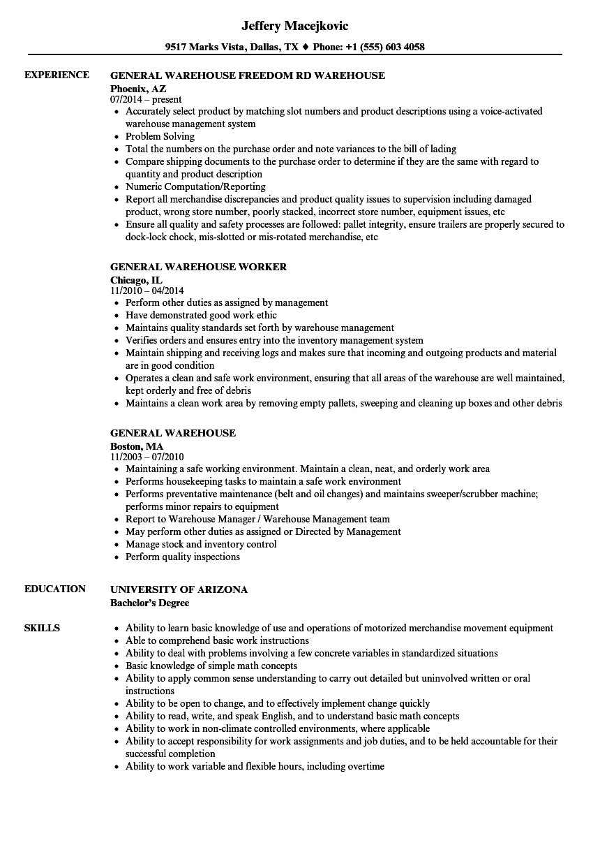 General Warehouse Resume Samples Velvet Jobs