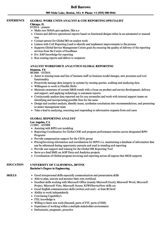 reporting analyst resume sample