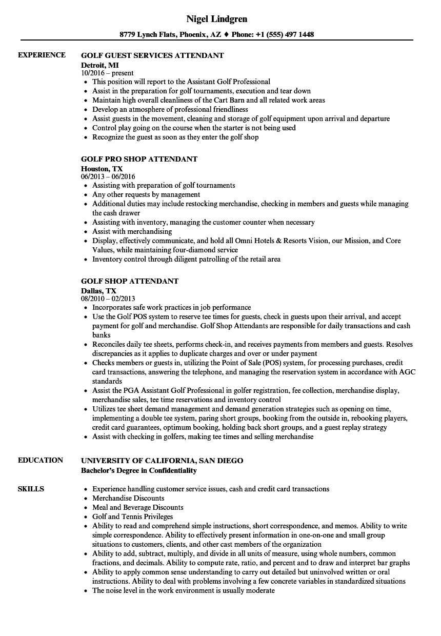 Golf Attendant Resume Samples Velvet Jobs