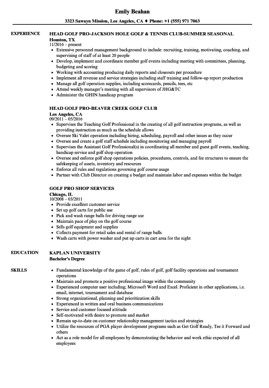 Golf Pro Resume Samples Velvet Jobs