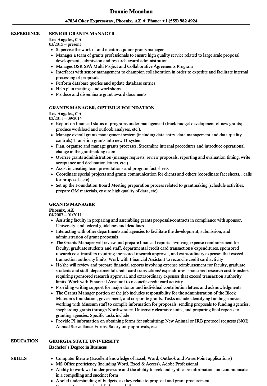 resume sample for manager