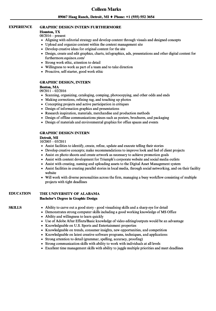 Download Graphic Design Intern Resume Sample As Image File