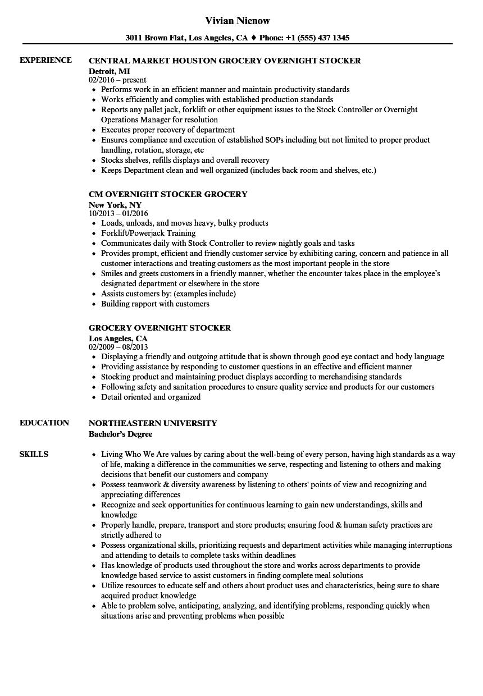 supermarket resume sample