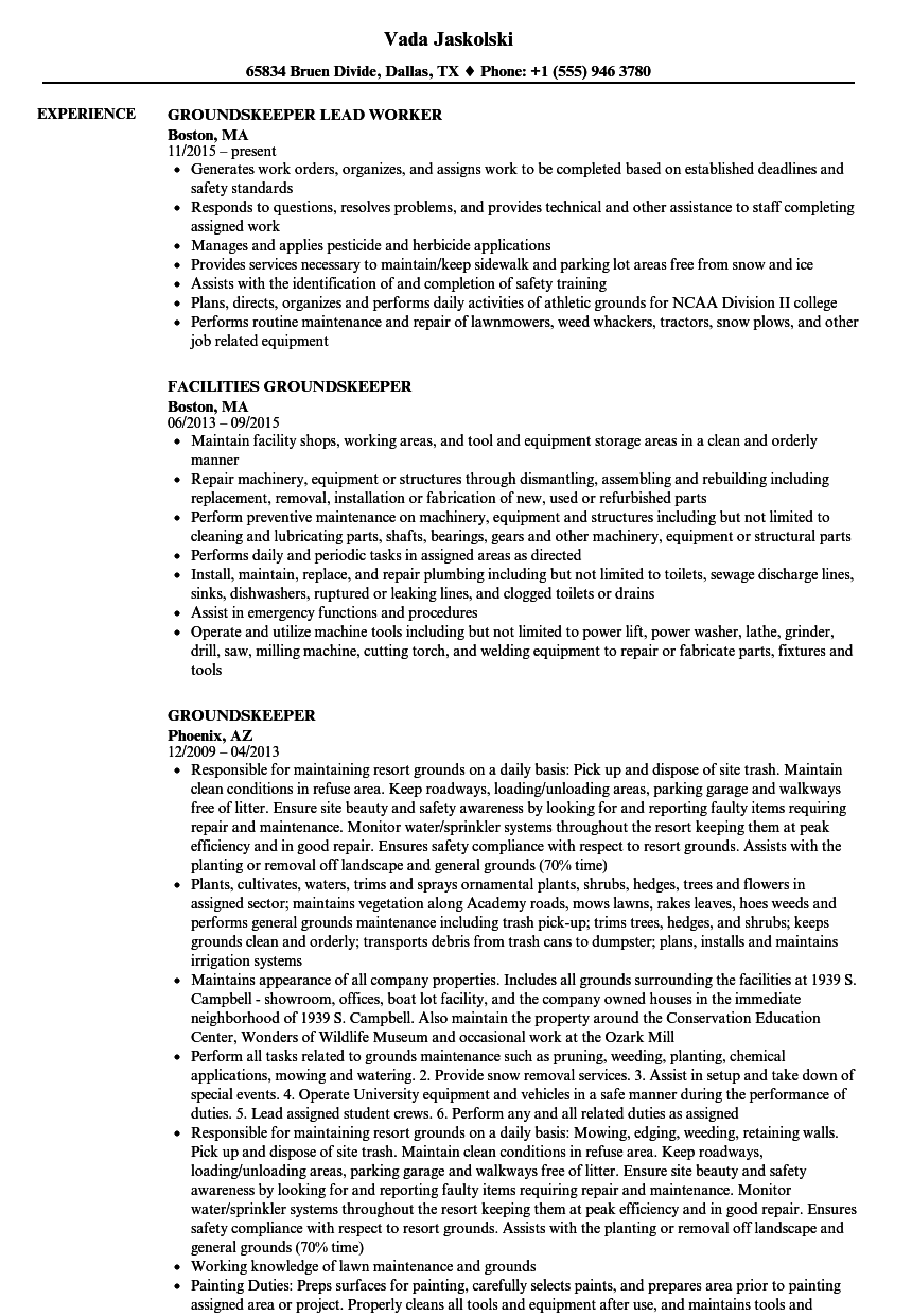 Groundskeeper Resume Samples Velvet Jobs
