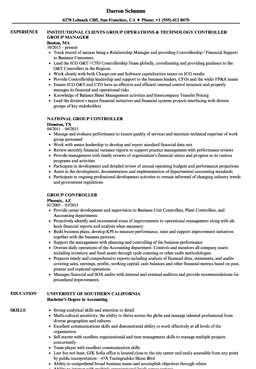 Group Controller Resume Samples Velvet Jobs  Controller Resume