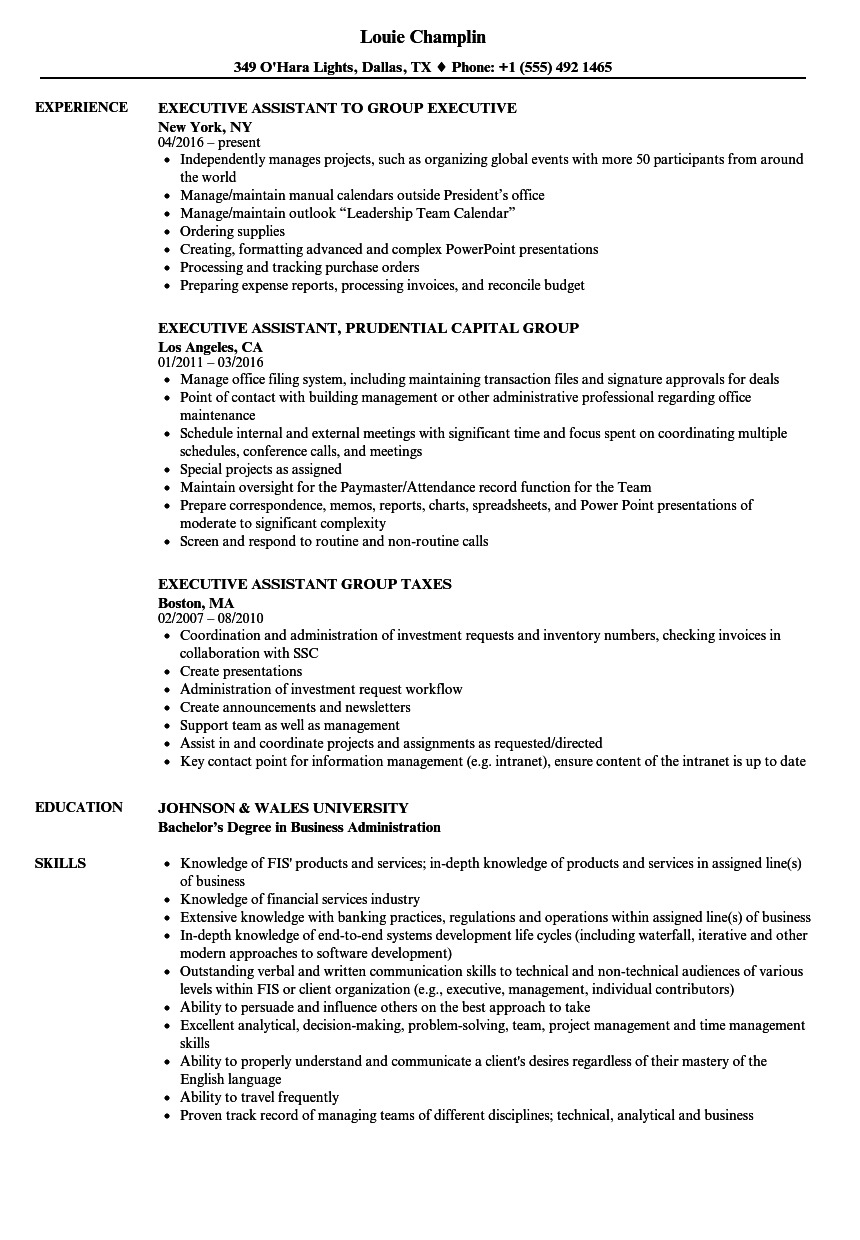 Download Group Executive Resume Sample As Image File