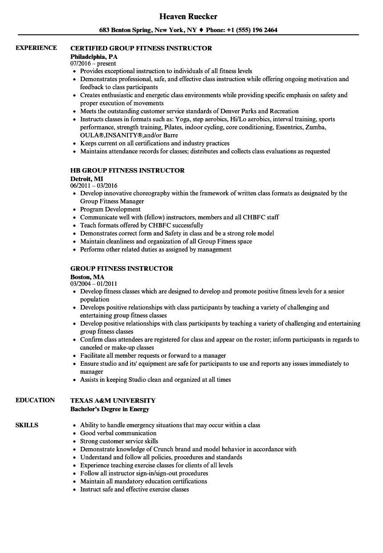 examples of zumba resume