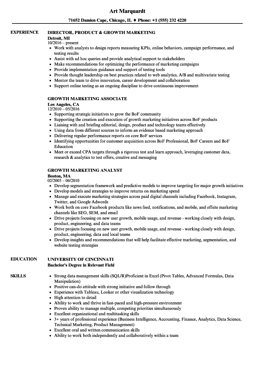 Download Growth Marketing Resume Sample As Image File