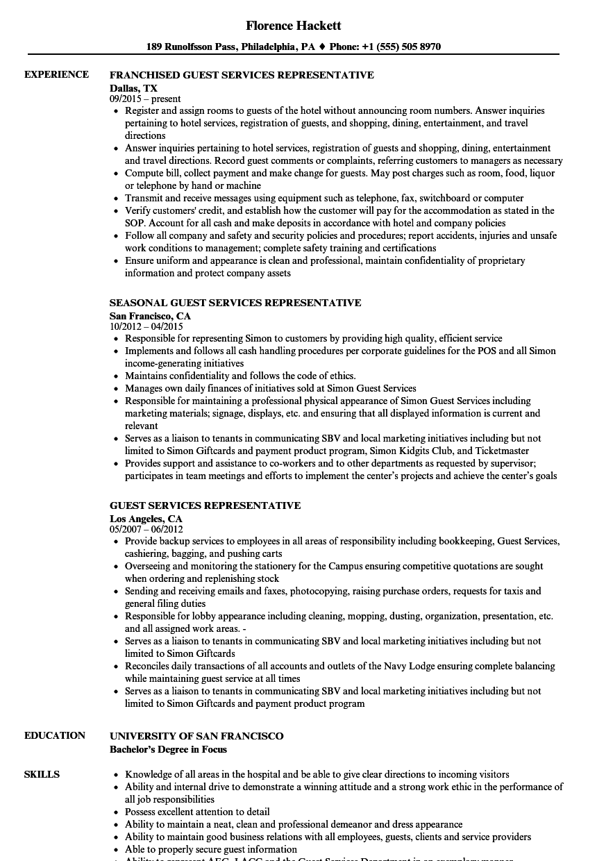 Guest Services Representative Resume Samples Velvet Jobs  Guest Services Resume