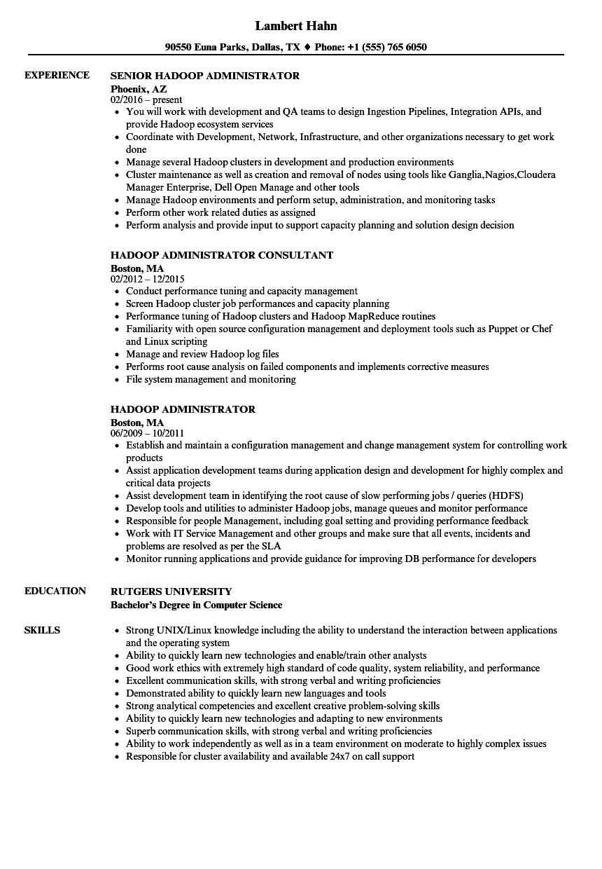 Hadoop Administrator Resume Samples Velvet Jobs