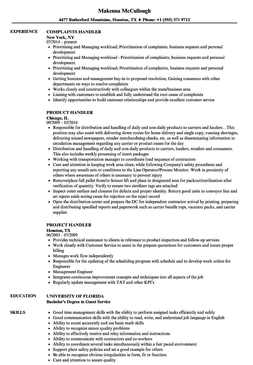 Handler Resume Samples Velvet Jobs