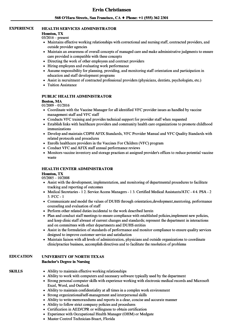Health Administrator Resume Samples Velvet Jobs