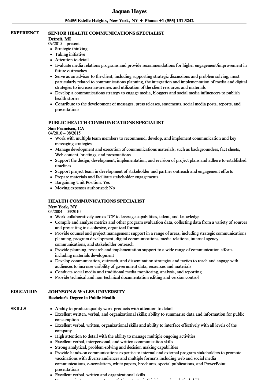 health communication specialist resume sample