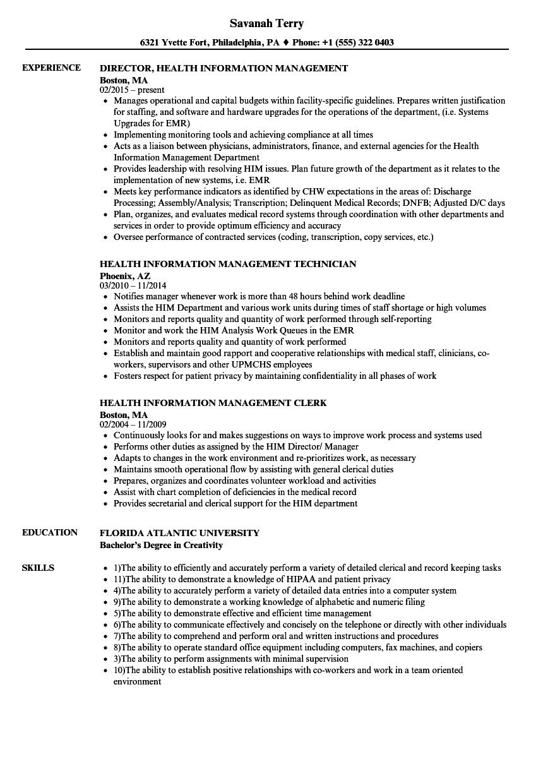 resume sample health information management