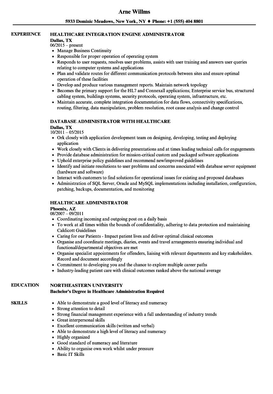 Healthcare Administrator Resume Samples  Velvet Jobs