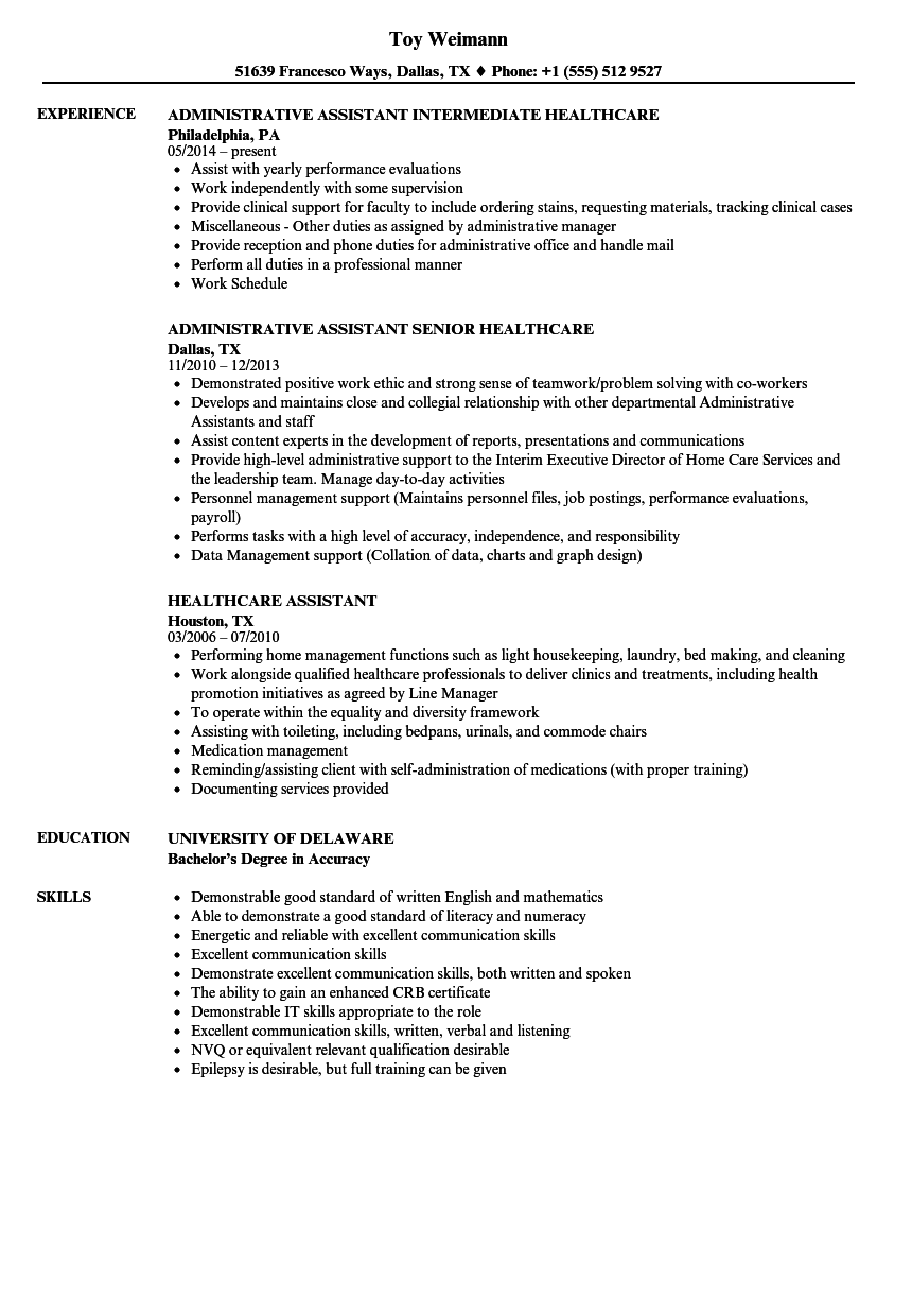 Download Healthcare Assistant Resume Sample As Image File
