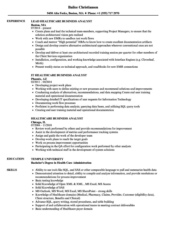 ba sample resume healthcare