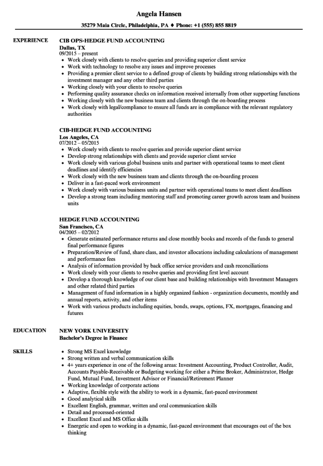 Hedge Fund Accountant Resume Gallery - resume format examples 2018
