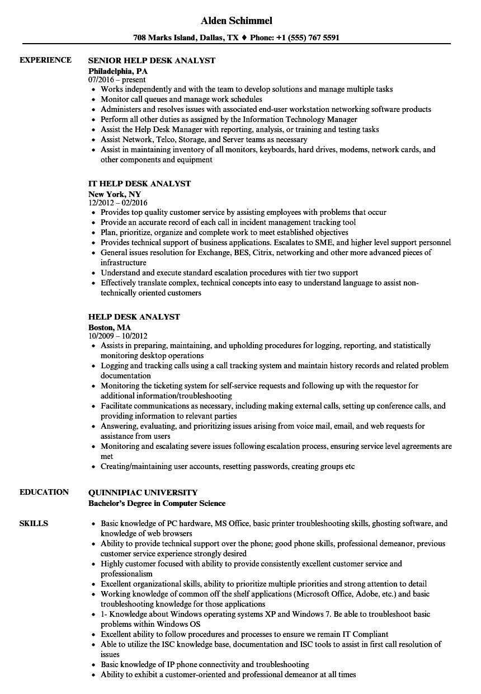 it help desk support analyst sample resume
