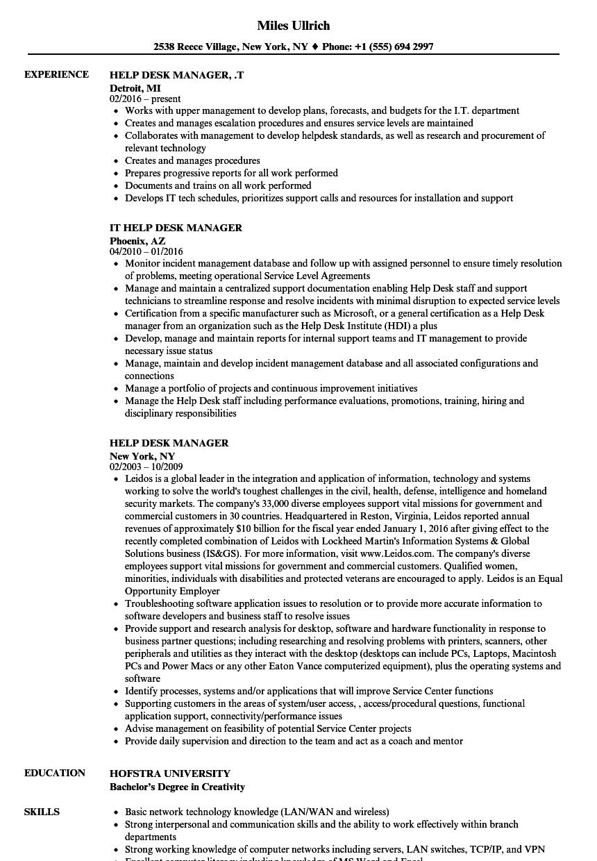 Help Desk Manager Resume Samples  Velvet Jobs
