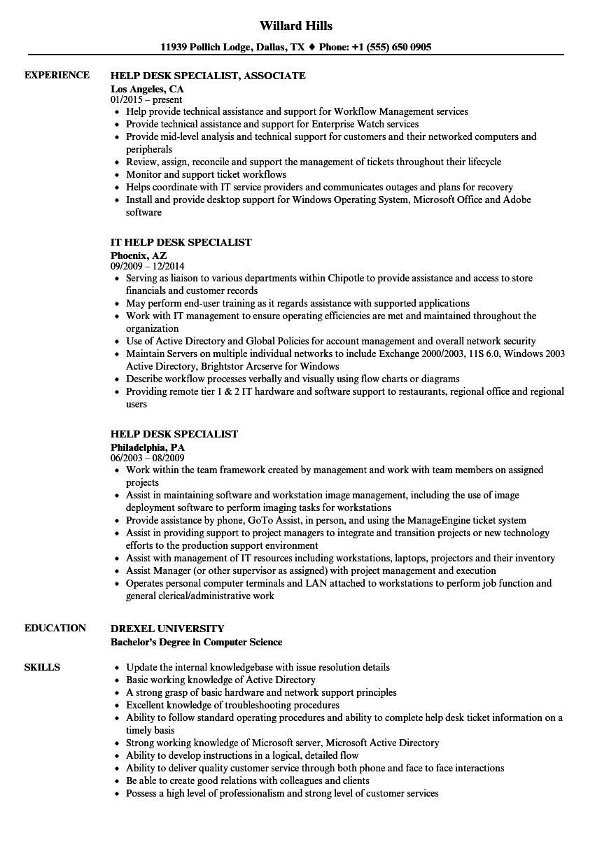 Help Desk Specialist Resume Samples  Velvet Jobs