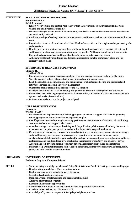 sample help desk supervisor resume