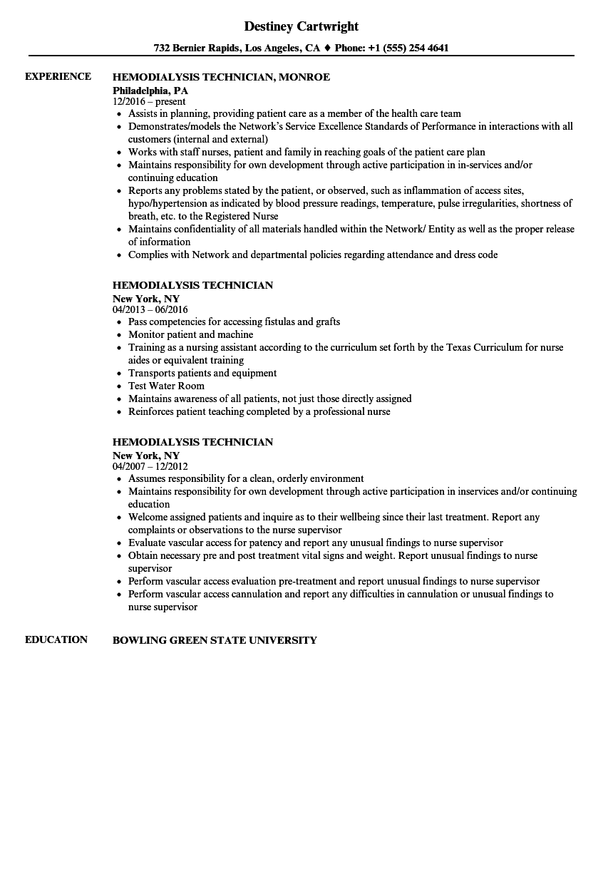 Renal Technician Cover Letter