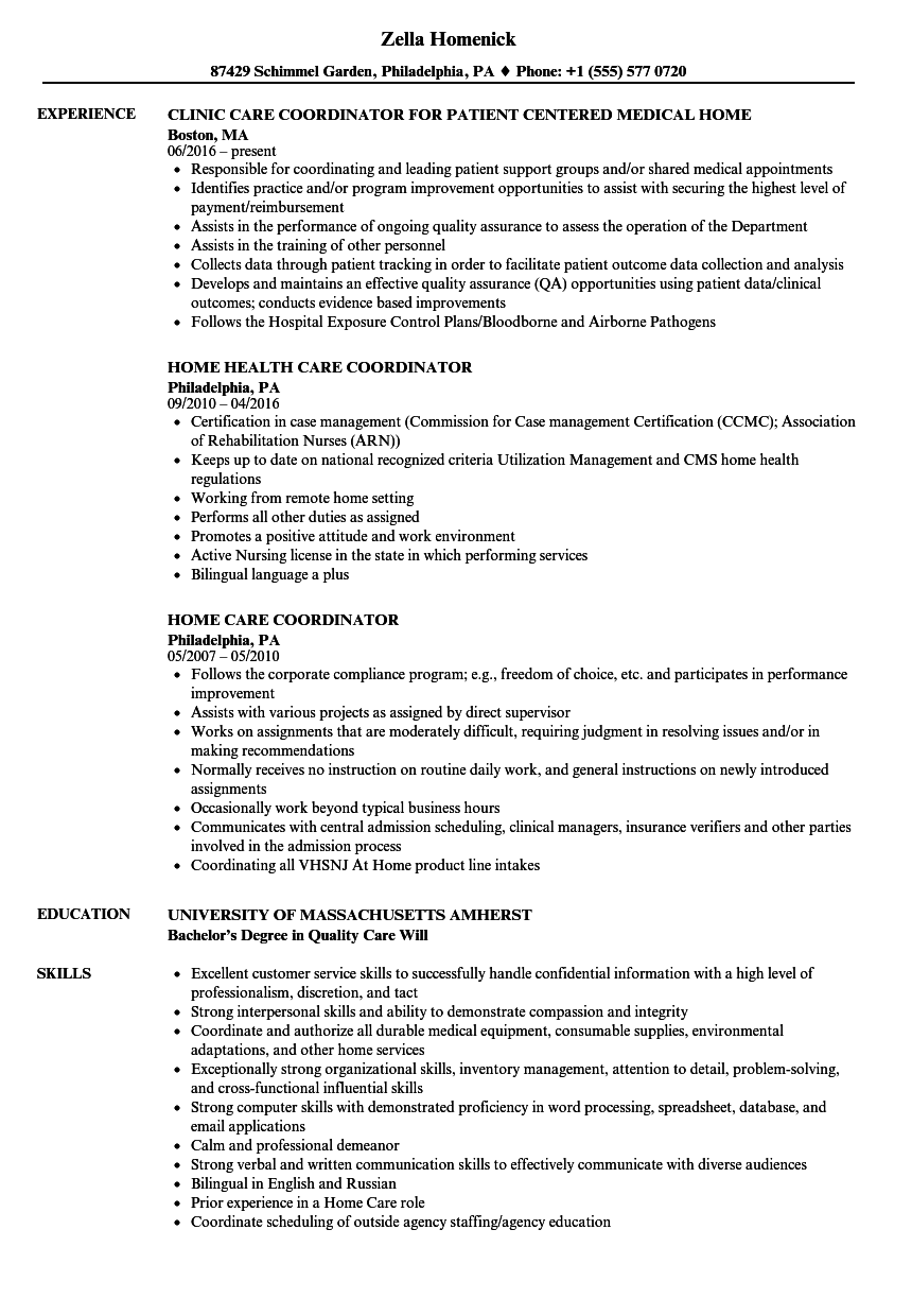 Care Coordinator Resume Twnctry