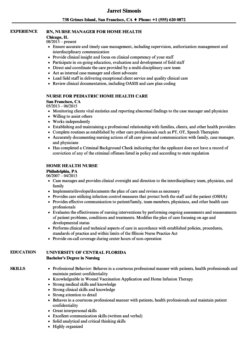 sample resume rn home health