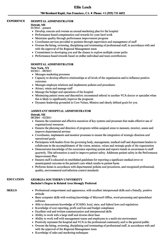 Hospital Administrator Resume Samples  Velvet Jobs