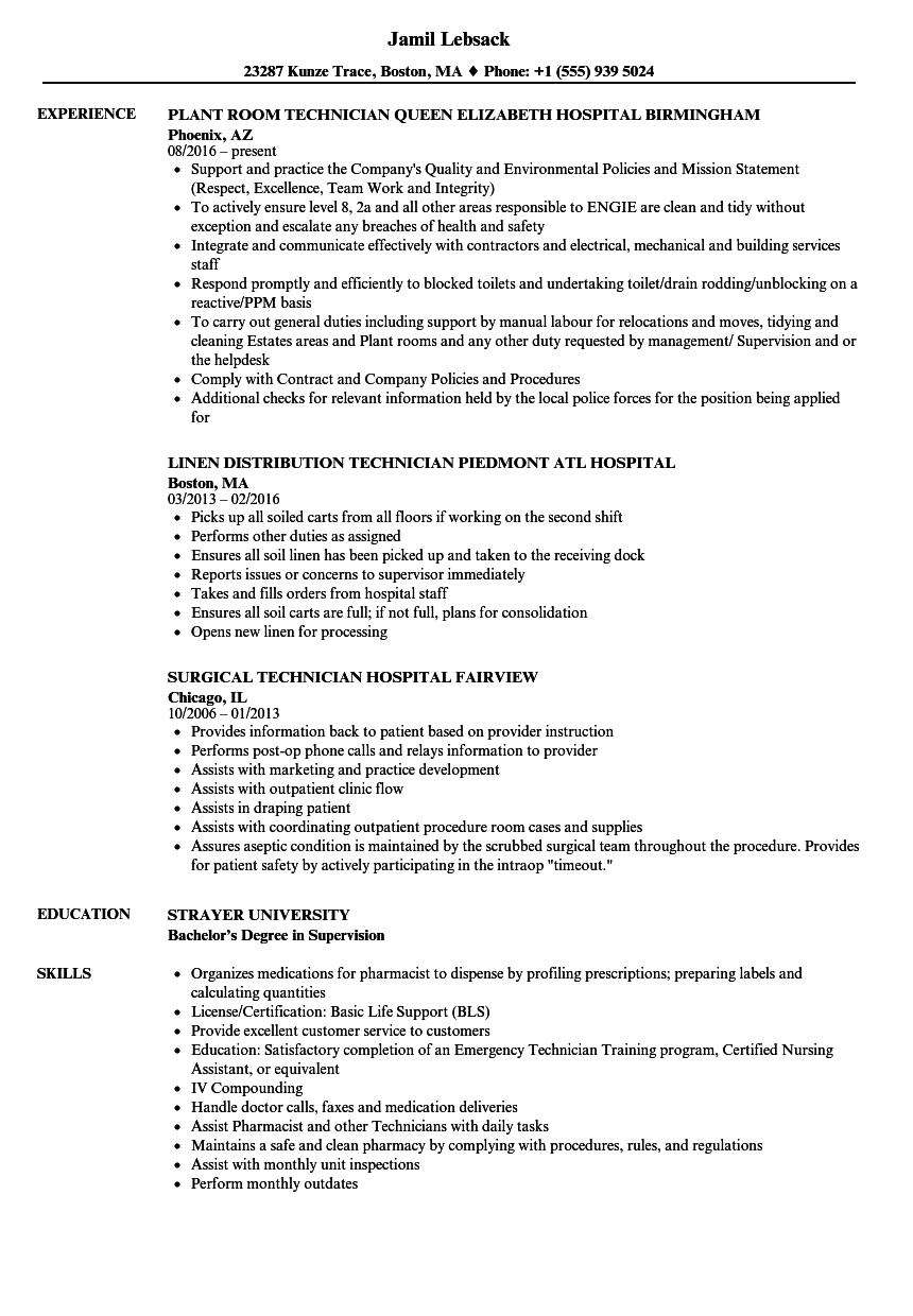 Hospital Technician Resume Samples Velvet Jobs