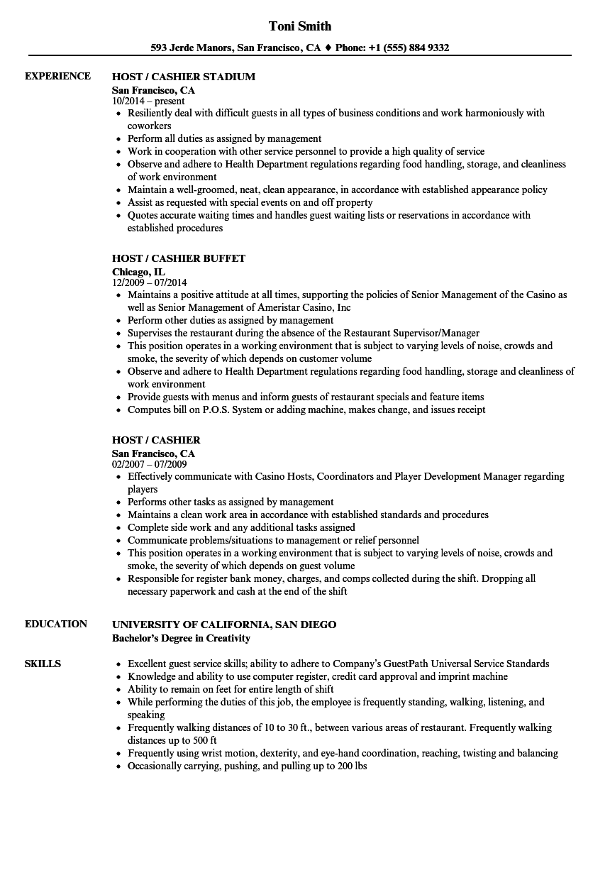 Host / Cashier Resume Samples | Velvet Jobs