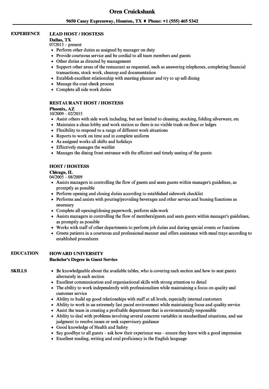 host hostess resume sample