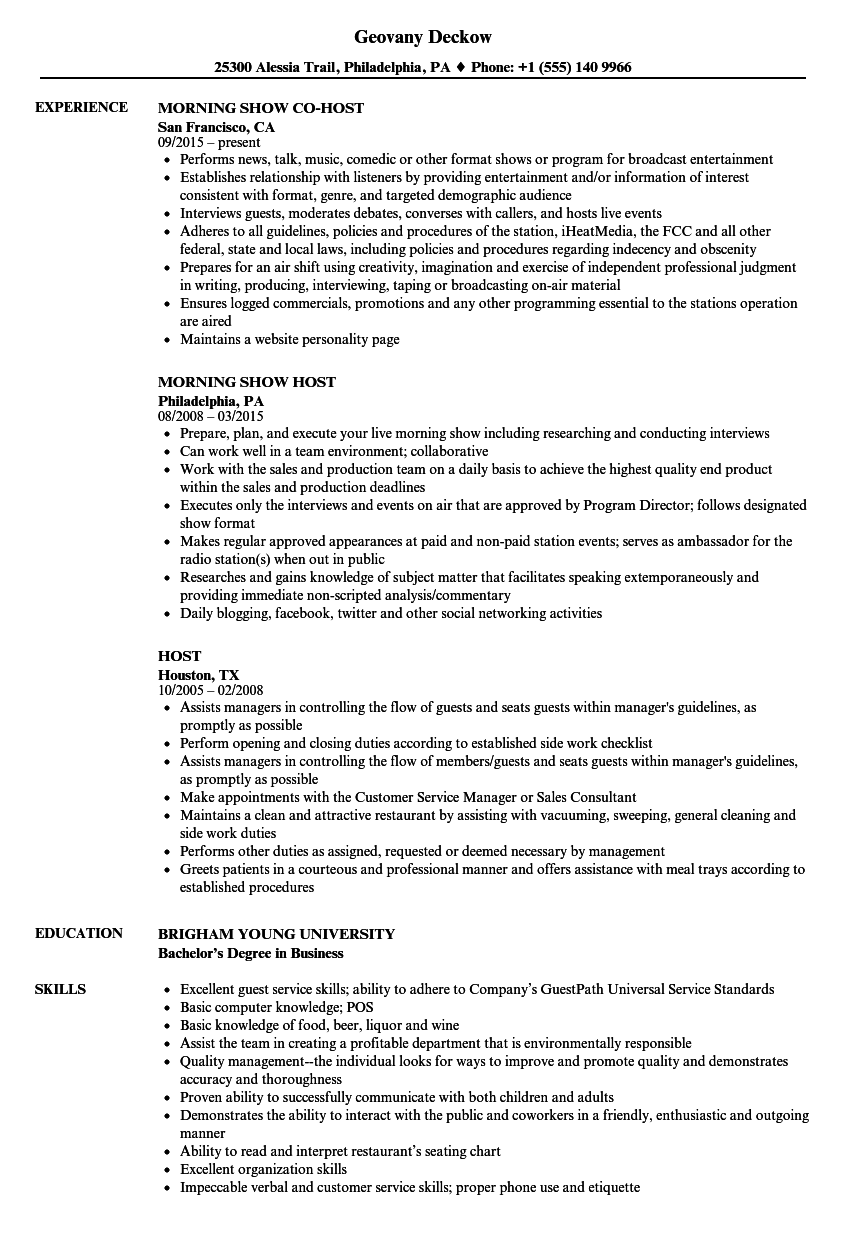 Host Resume Samples  Velvet Jobs