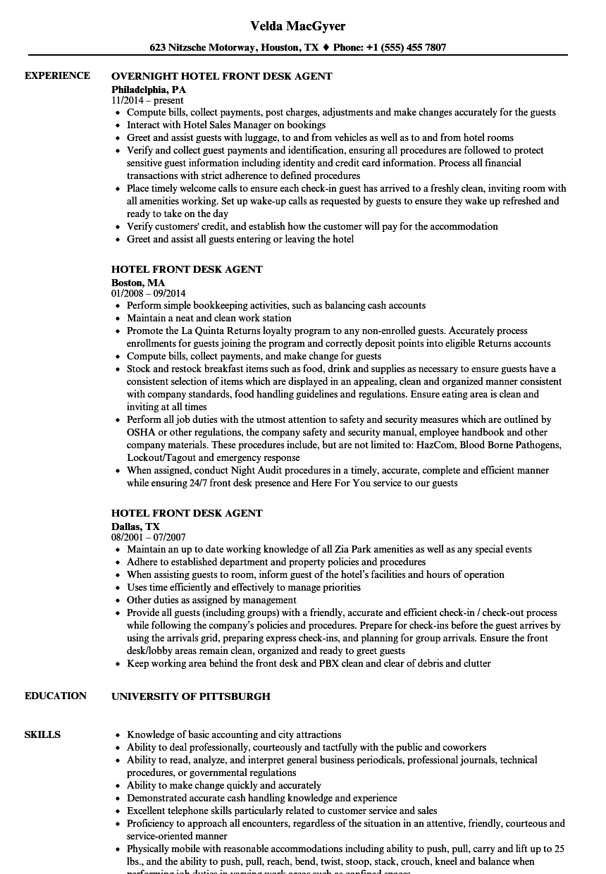 hotel resume examples front desk