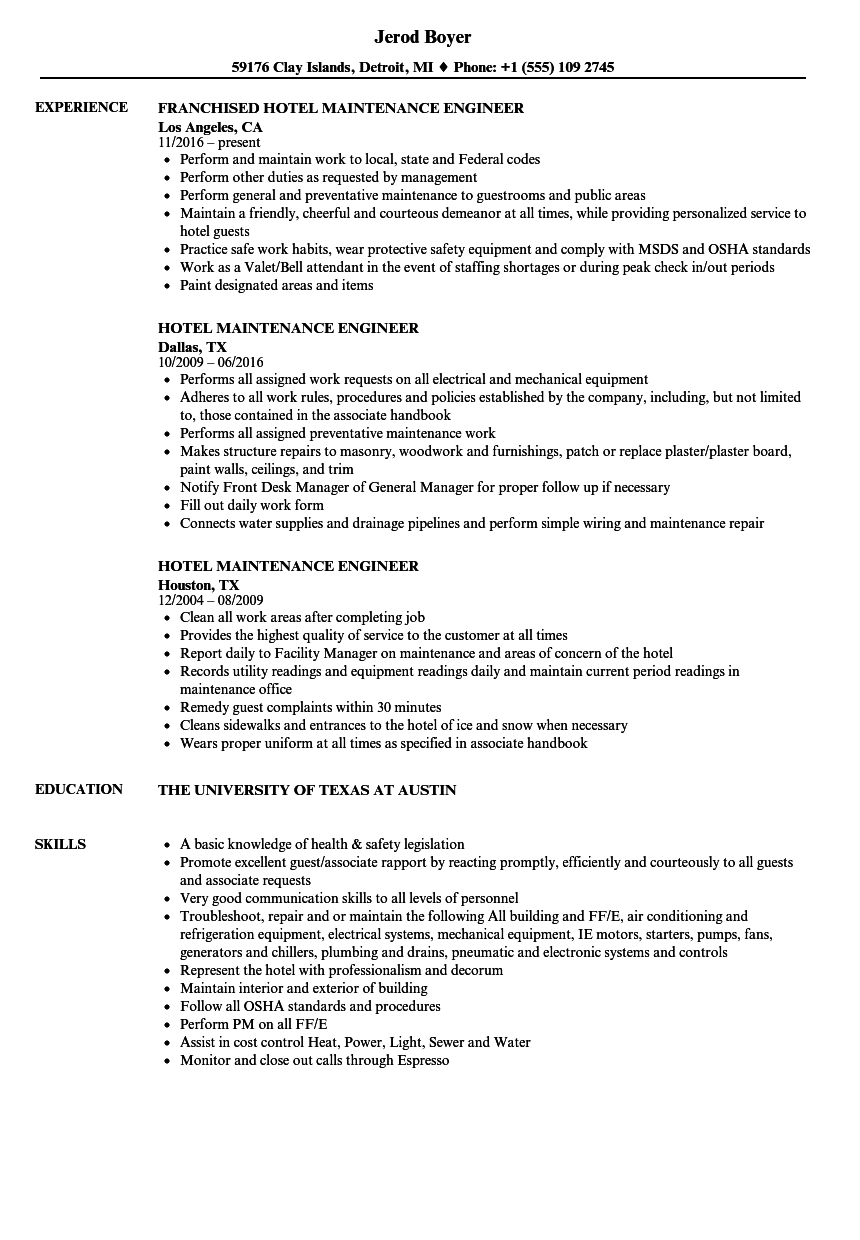 building maintenance engineer resume sample