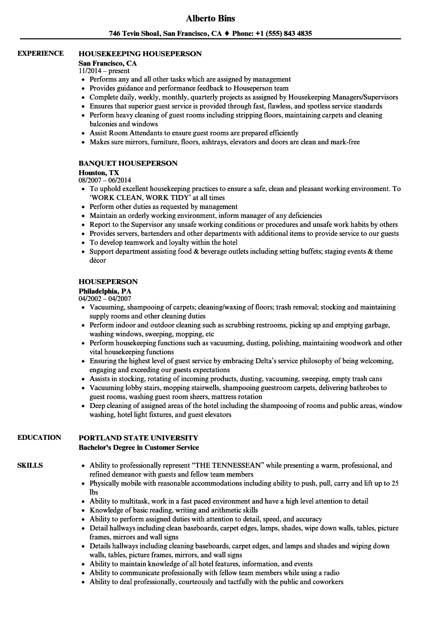 Houseperson Resume Samples Velvet Jobs