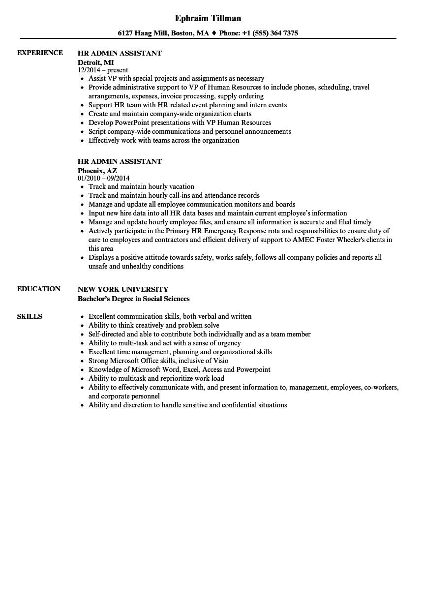 HR Admin Assistant Resume Samples  Velvet Jobs