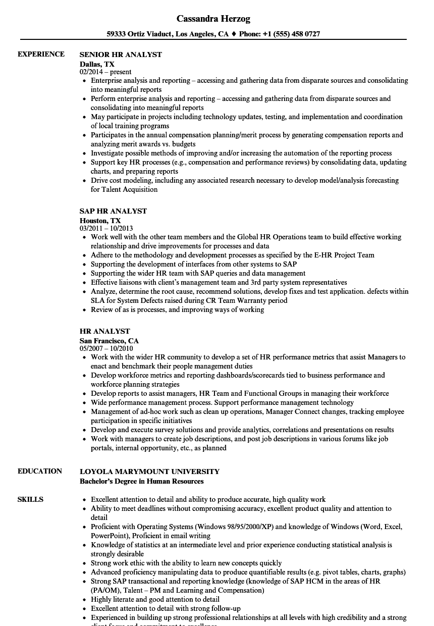 HR Analyst Resume Samples Velvet Jobs