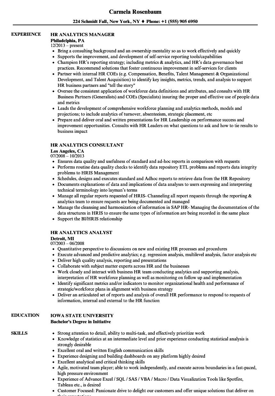 hr analytics resume sample